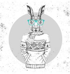 Retro hipster fashion animal rabbit vector