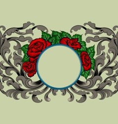Rose and flora pattern scene vector image