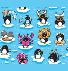 seamless pattern penguins zodiac signs in vector image