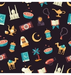 Seamless pattern with islamic culture icons vector