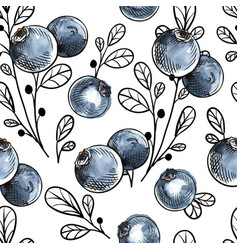 seamless pattern with natural fresh blueberries vector image