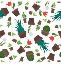 Seamless potted plants and flowers pattern vector