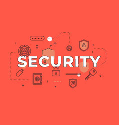 Security text concept modern flat style vector