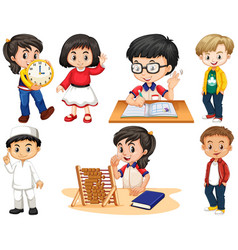 set happy children doing different things vector image
