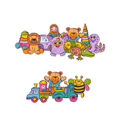 Set of big kid toys piles hand drawn and vector