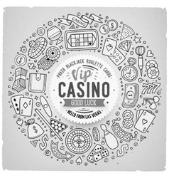 Set of Casino cartoon doodle objects symbols and vector