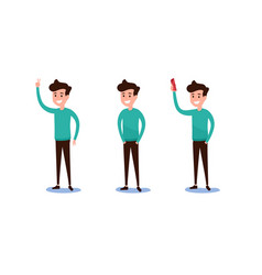 Set of guy in casual clothes in various poses vector