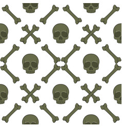 Set of seamless patterns with skull and bones vector