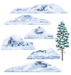 Set of snow-capped mountains and hills vector