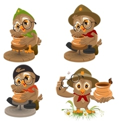 Set Owl Scout manufactures ceramic pot Potter vector image