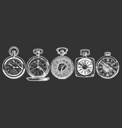 Set pocket watches vector