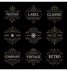 set retro vintage luxury logo templates vector image