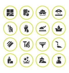 Set round icons of cleaning vector image