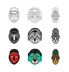 set tribal african mask icons isolated on white vector image