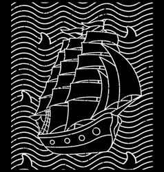 ship for shirt design vector image