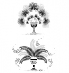 silhouettes of vases with palm vector image