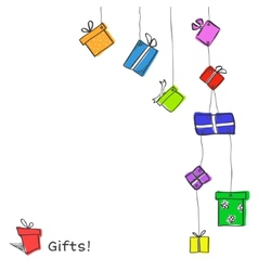 Sketch hanging gift boxes vector image