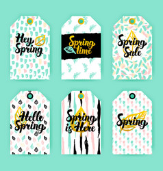 Spring nature trendy gift labels vector