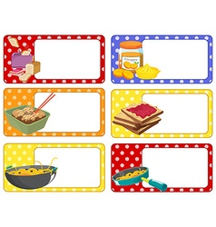 Square labels with food vector image