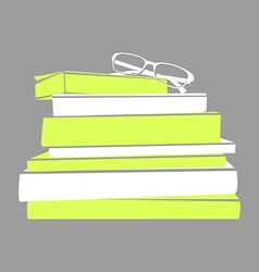 Stack of books and glasses vector