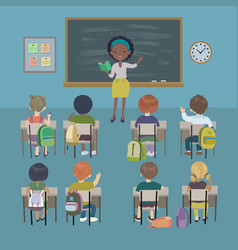 Students and african teacher in classroom vector