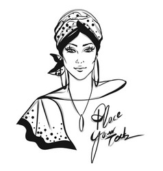 Stylish woman with turban vector