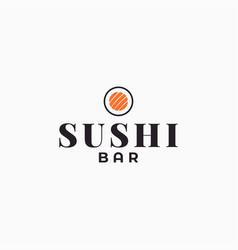 sushi bar logo sushi roll on white background vector image