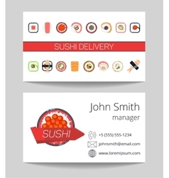 Sushi delivery business card template vector