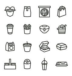 take away food black thin line icon set vector image