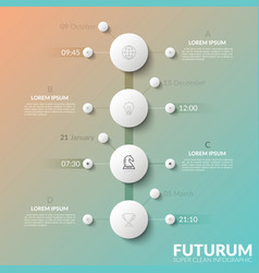 Vertical timeline with 4 white round elements vector