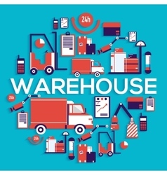 Warehouse staff puts cargoes box package and vector