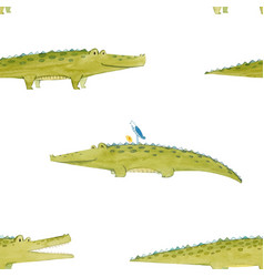 watercolor crocodile pattern vector image