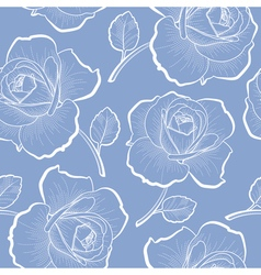 White outline roses on blue seamless pattern vector