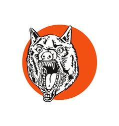 Wild Dog Wolf Retro vector