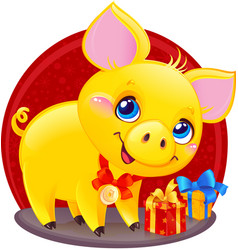 yellow earthy pig for the new year 2019 vector image