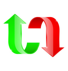 curved arrows up and down red and green vector image