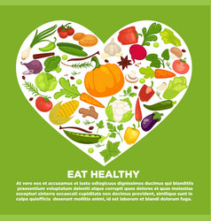 eat healthy commercial poster with vegetables vector image