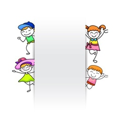 happy kids hand drawing kids with blank paper vector image vector image