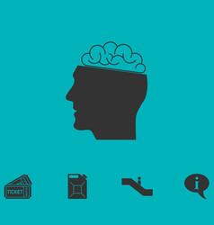Human brain icon flat vector