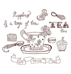 Tea time doodle background vector image