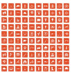 100 target icons set grunge orange vector