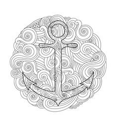 coloring page with anchor in wave mandala vector image