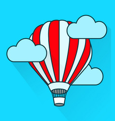 flat air balloon in flight simple style vector image