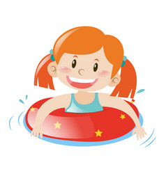 little girl using floating rubber vector image vector image