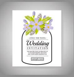vintage wedding invitation with floral elements vector image vector image