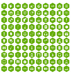 100 microphone icons hexagon green vector
