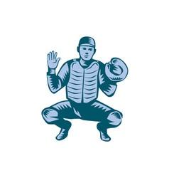 Baseball catcher gloves woodcut vector