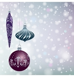 Christmas balls on snowy background vector image vector image