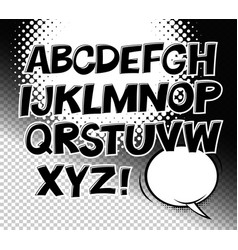 comic black and white alphabet and speech bubble vector image