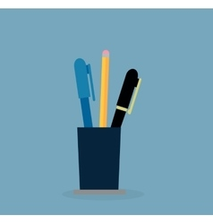 Cup with pen and pencil education concept vector